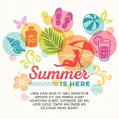 Summer promo graphics, summer icons, symbols with textures. EPS 10 file with transparencies.File is layered with global colors.More works like this linked below.