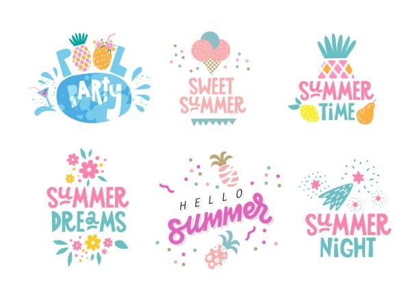 Summer quotes Hand drawn lettering motivational quotes about Summer set on the white background. For banners, greeting card, poster, summer sale season. Vector illustration. pool party stock illustrations