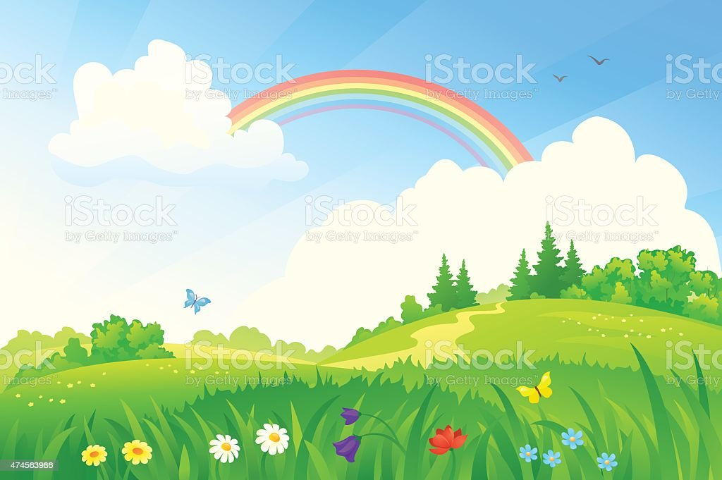 Summer rainbow vector art illustration