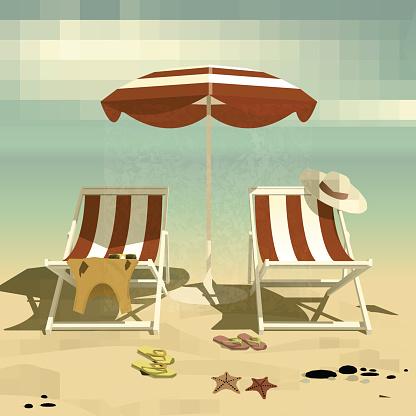 Summer. Recliners and Beach umbrella. Beach sand. Summer rest. Vector Illustration