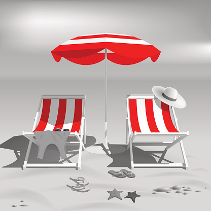 Summer. Recliners and Beach umbrella. Black and white photo effect. Sea. Vector Illustration