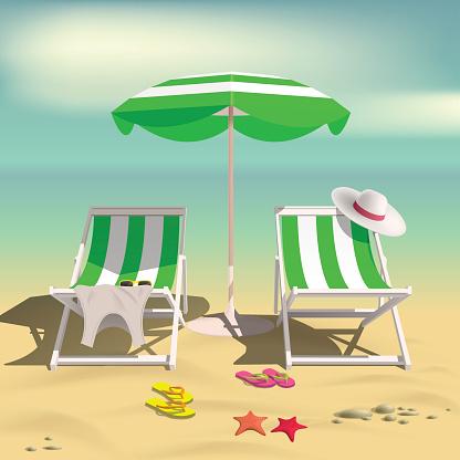 Summer. Recliners and Beach umbrella. Sea. 3D Vector Illustration