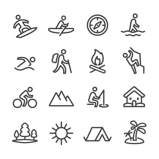 ilustrações, clipart, desenhos animados e ícones de ícones de recreação de verão - linha série - atividades ao ar livre