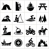 Black summer recreation icons. All white shapes and strokes are cut from the icons and merged.