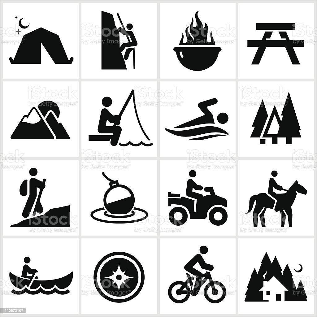 Summer Recreation Icons vector art illustration