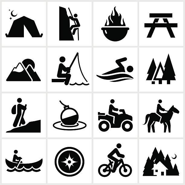 sommererholung-symbole - fahrzeug fahren stock-grafiken, -clipart, -cartoons und -symbole