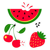 Summer red fruits set. Watermelon, cherry and strawberry. Vector illustration