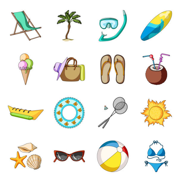 summer rest cartoon icons in set collection for design. beach accessory vector symbol stock web illustration. - ice cream stock illustrations