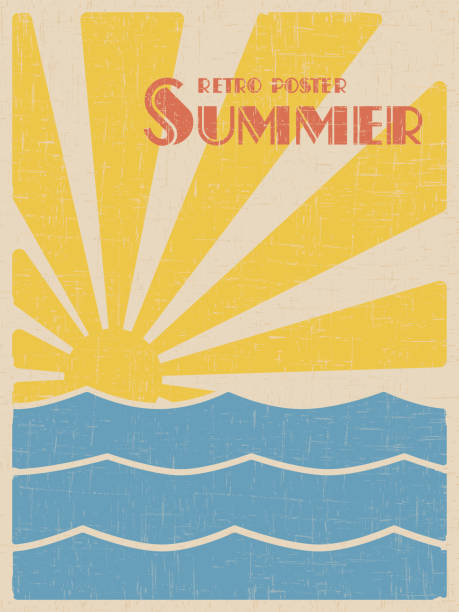 summer retpo poster - poster stock illustrations