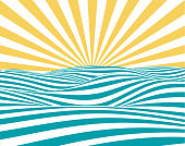 Abstract summer background, with stylized waves and sun-rays.