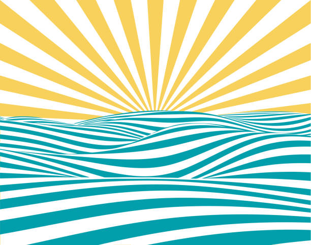 Summer Retro Background Abstract summer background, with stylized waves and sun-rays. summer sun stock illustrations