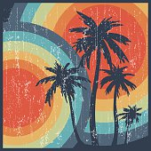 istock Summer retro palm trees 533608061