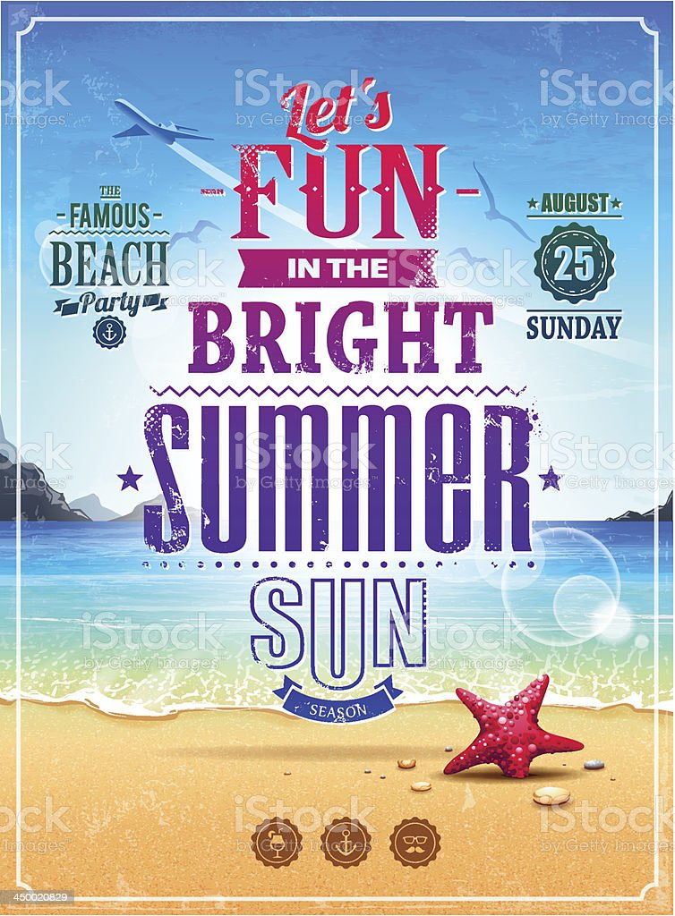 Summer retro poster vector art illustration