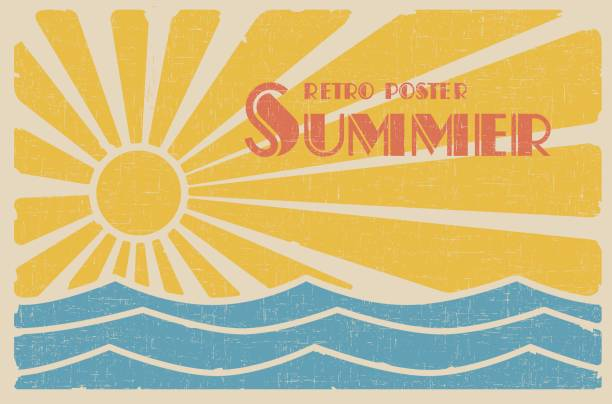 summer retro poster - beach stock illustrations