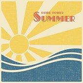 Sun and sea, summer retro poster. Vector illustration vintage style.