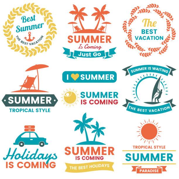 Summer Retro Vector Logo for banner Summer Retro Vector Logo for banner, poster, flyer idyllic stock illustrations