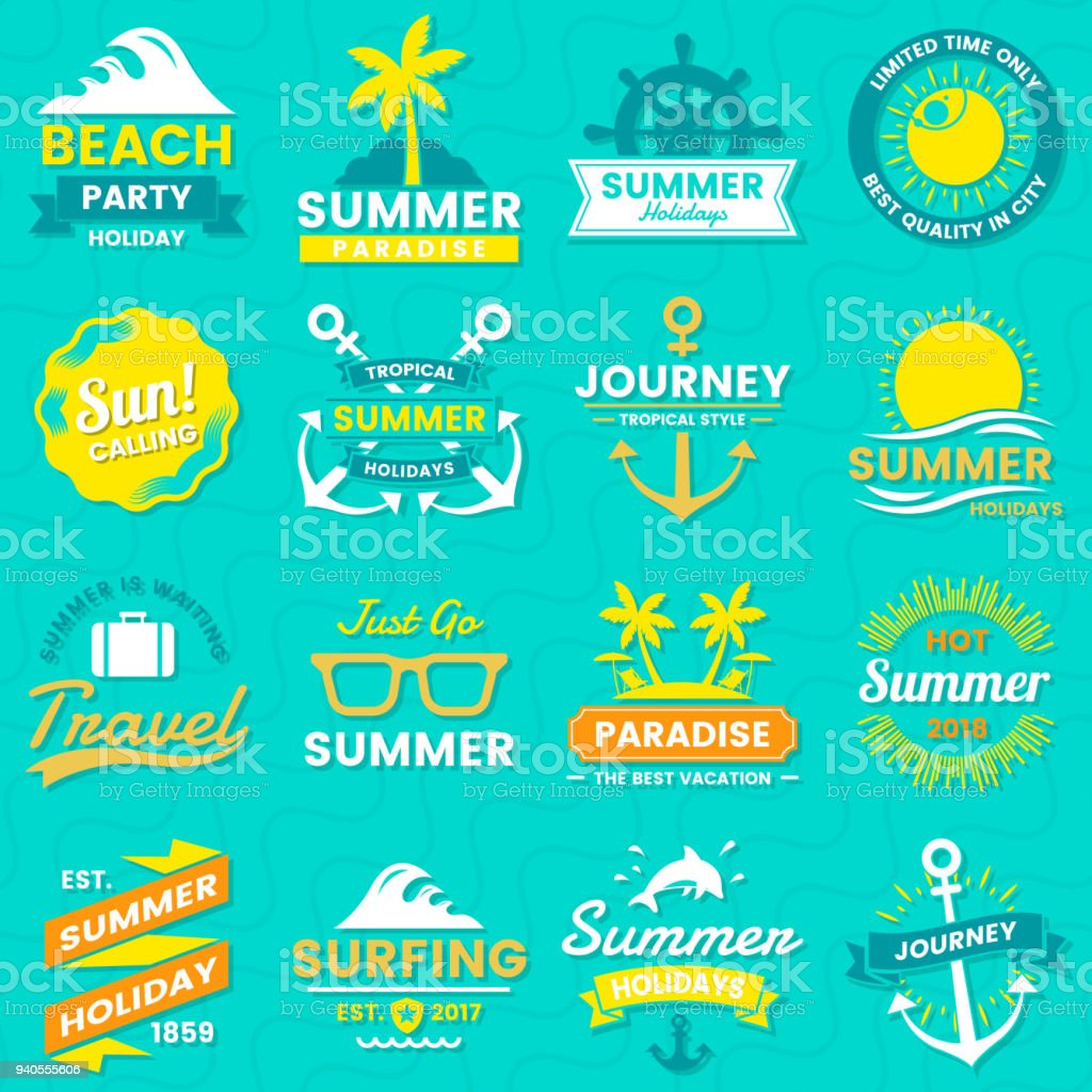 Summer Retro Vector Symbol For Banner Stock Vector Art & More Images ...