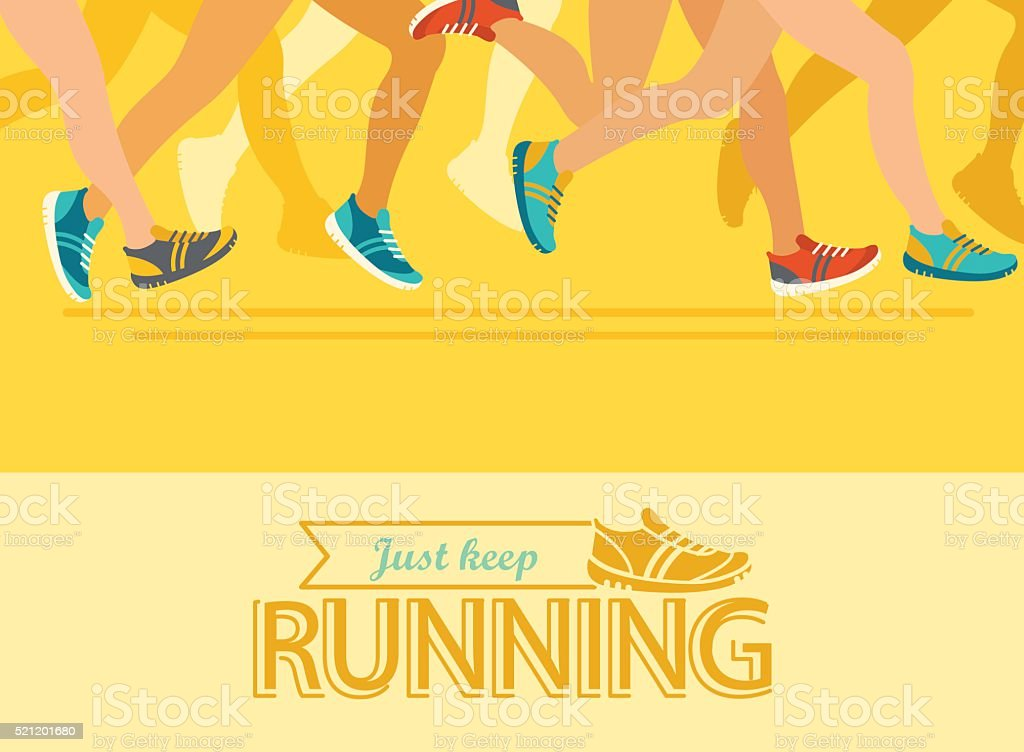 Summer running marathon concept. vector art illustration