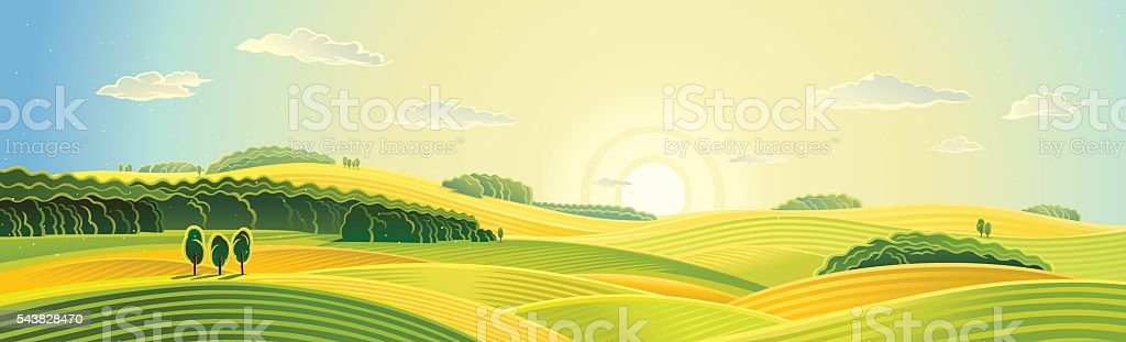 Summer rural landscape. vector art illustration