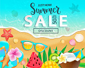 Summer sale 2019 top view banner.50 percent discount with hot sand and sea, cocktail, watermelon, mango and kiwi, tropical fruits on beach. Bright promo template for your design, web.Vector
