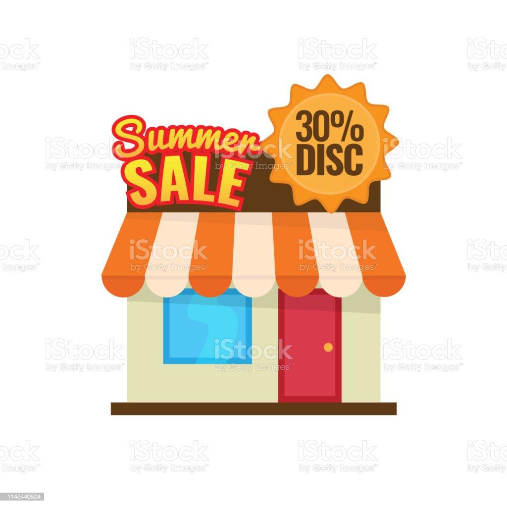 Summer sale 30% discount. seasonal store icon vector illustration