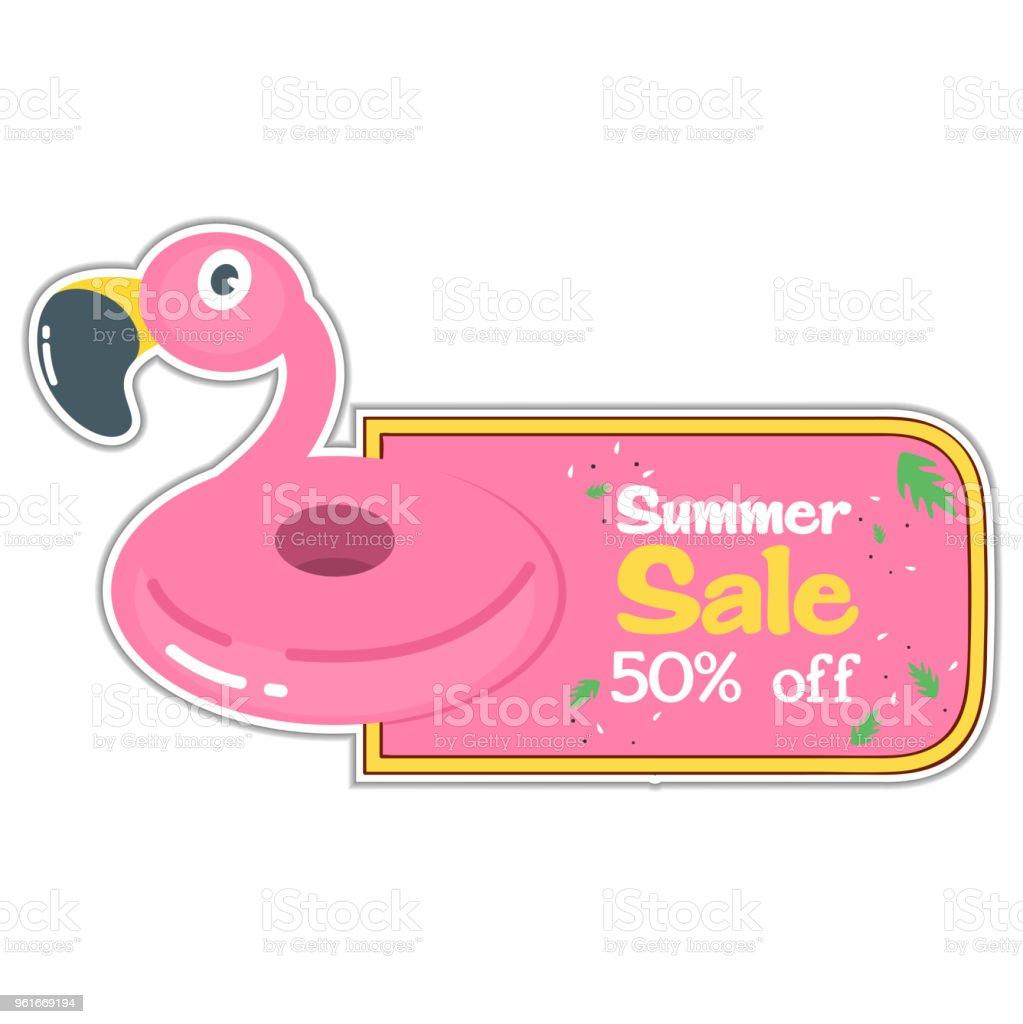 Ilustración de Venta De Verano 50 De Descuento Piscina Flamingo ...