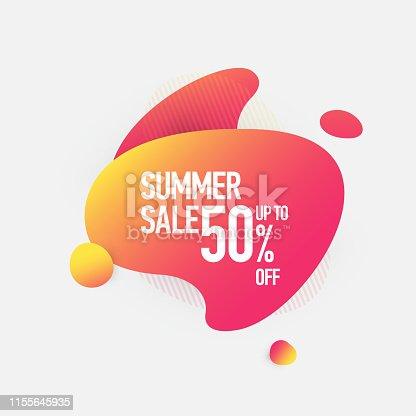 Summer Sale 50% Off Fluid Liquid Style Abstract Banner Design