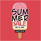Summer Sale 50% Off Shop Now Ice Cream Pink Background Vector Image