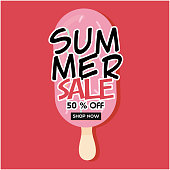 Summer Sale 50% Off Shop Now Strawberry Ice Cream Pink Background Vector Image