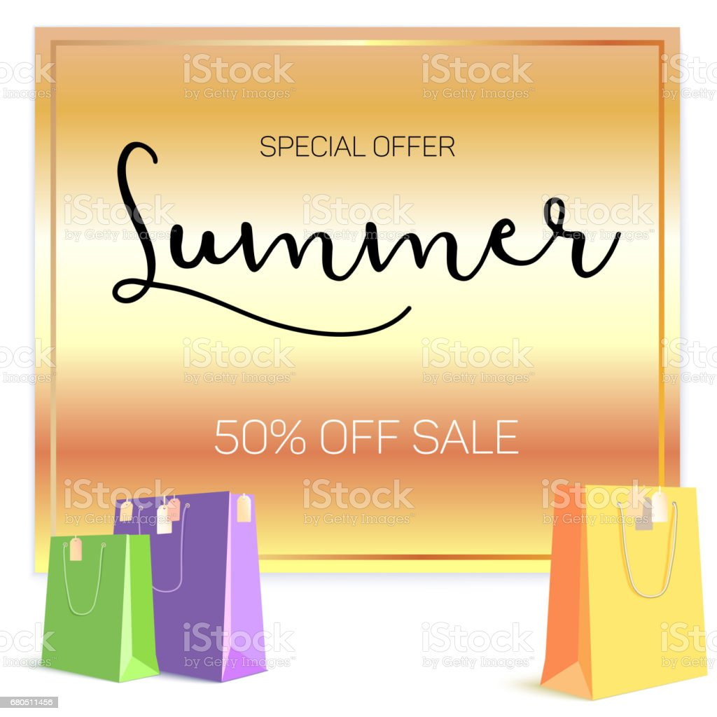 Summer Sale Ad Selling Banner On Gold Background Paper