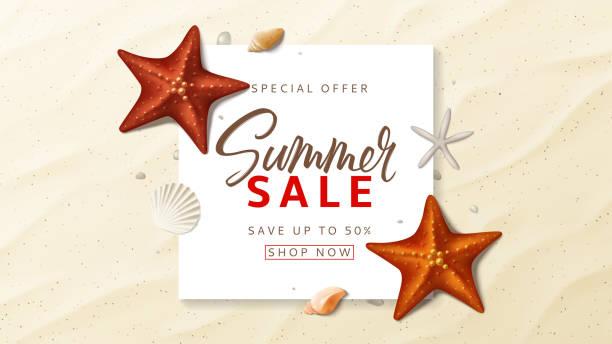 여름 판매 광고 벡터 배너 - 불가사리류 stock illustrations