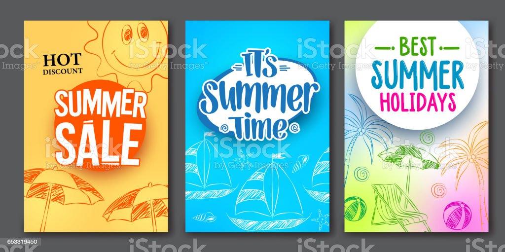 Summer sale and summer time vector web poster designs set vector art illustration