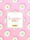 Summer sale background with daisy flowers