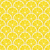 Summer sale background with lemons slices. Seamless pattern. Vector illustration. - Illustration