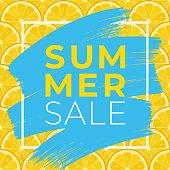Summer sale background with lemons slices. Vector illustration. - Illustration
