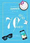 Summer sale background with paper art of summer accessories, vector illustration template, banners, Wallpaper, invitation, posters, brochure, voucher discount.
