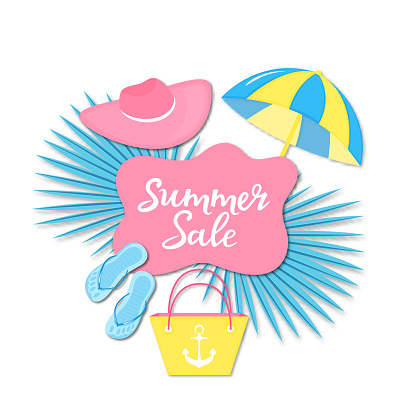 Summer sale banner. Beach things slippers, bag, hat, sun umbrella in paper cut style.