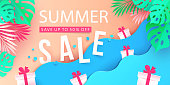 Summer sale banner design with top beach view. Background with tropical leaves and gift boxes in the sea waves. Paper cut, digital craft style. Vector illustration