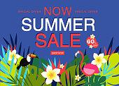 Summer sale banner design template. Vector illustration concept for internet marketing, poster, shopping ads, social media, web and graphic design. Summer sale