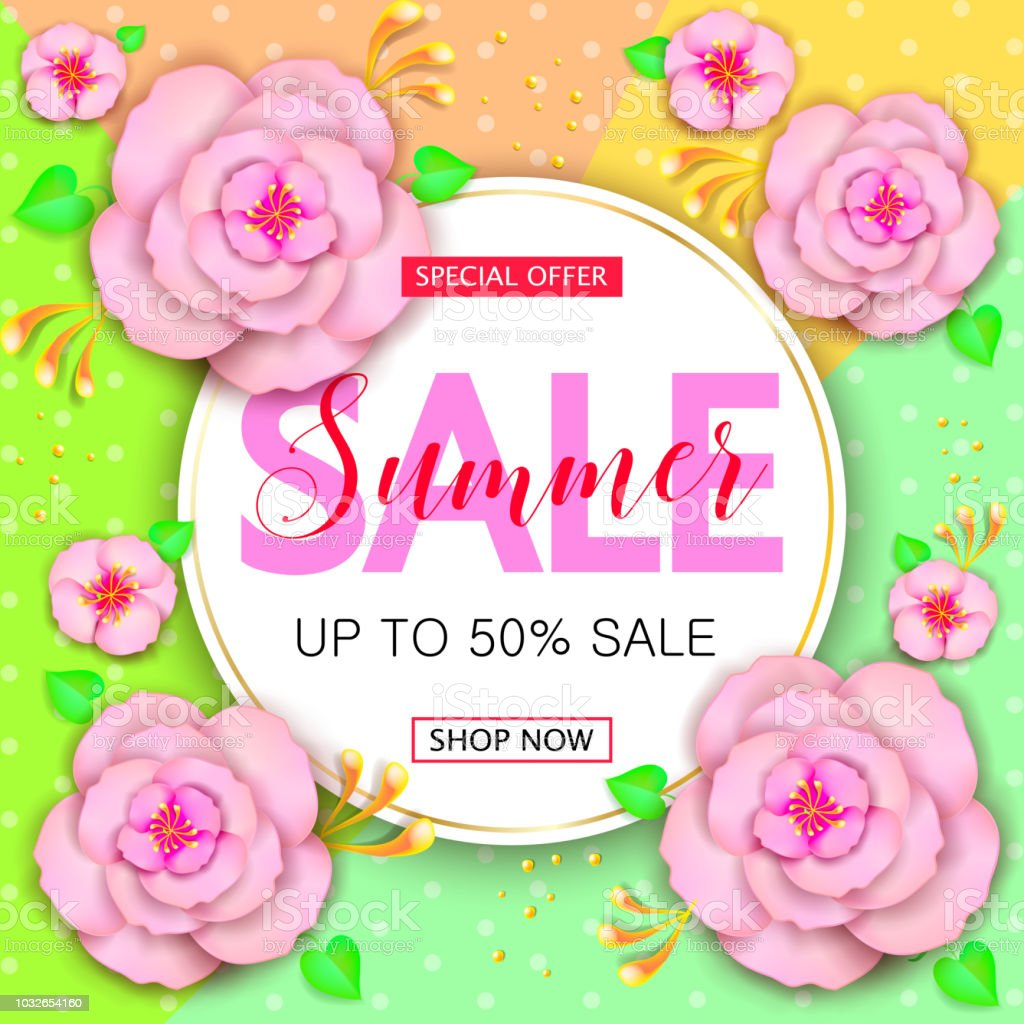 summer sale banner design with with colorful flowers summer posters