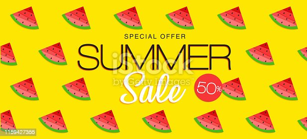 Summer sale banner, hot season discount poster with slices of watermelon. Invitation for shopping, special offer card. Vector illustration, Summer sale banner, hot season discount poster with slices of watermelon. Invitation for shopping, special offer card. Vector illustration