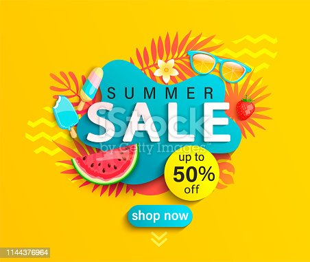 istock Summer Sale banner on yellow background. 1144376964