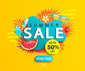 Summer Sale banner, hot season discount poster with tropical leaves,ice cream,watermelon, strawberries,sunglasses.Invitation for shopping with 50 percent off. special offer card, template for design.