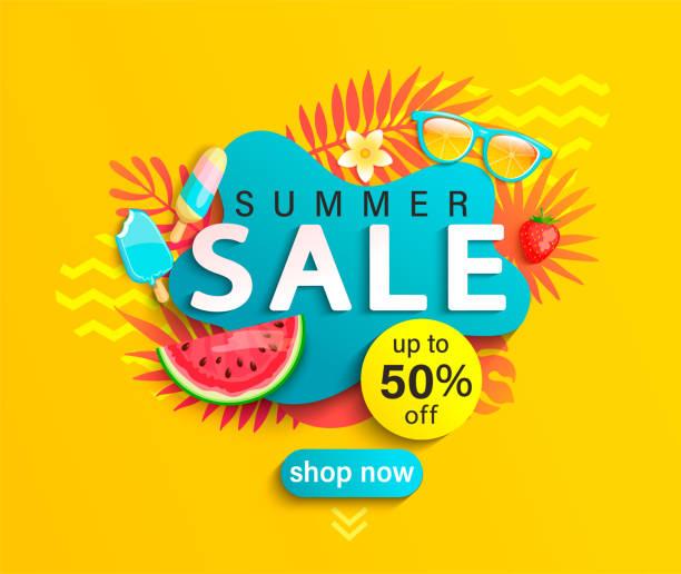 ilustraciones, imágenes clip art, dibujos animados e iconos de stock de banner de venta de verano sobre fondo amarillo. - verano