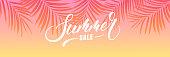 Summer sale banner. Palm leaves tropical wallpaper. Summer trendy design for ad, invitation, flyer, poster, web banner.