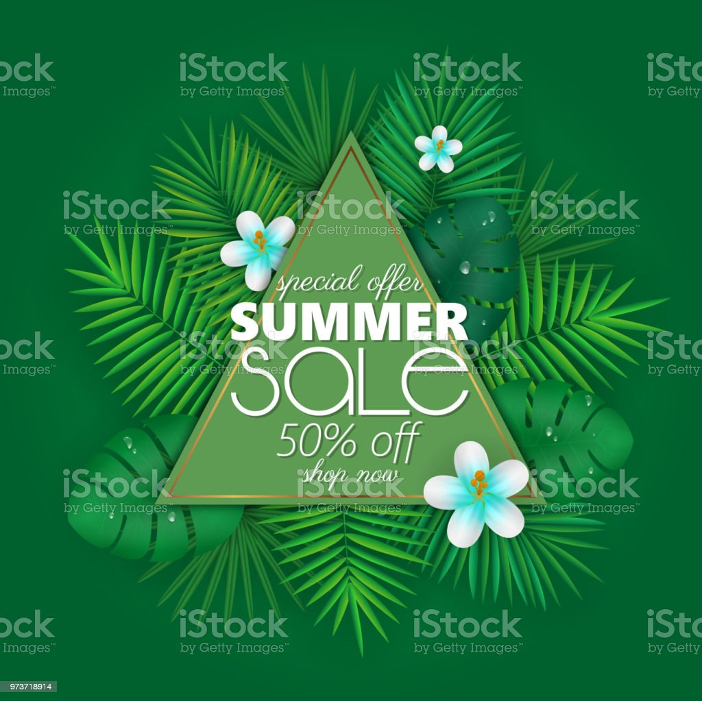 summer sale banner poster template with palm leaves and jungle leaf