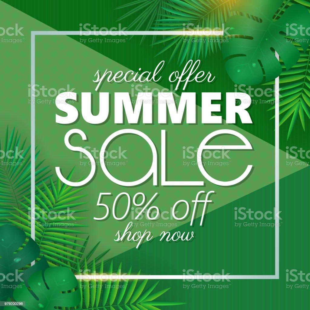 Sommer Sale Banner Plakatvorlage Mit Palmblättern Und Dschungel ...