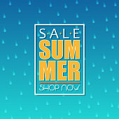 Summer sale banner, poster template with raining drops on blue background