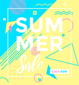 Summer season poster, color label