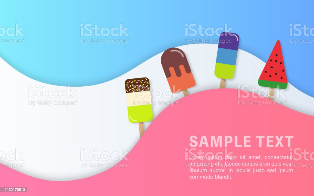 夏季銷售橫幅範本五顏六色的冰冰棒淇淋曲線波線 - 免版稅剪貼畫圖庫向量圖形